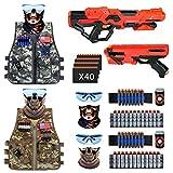 2 Pack Kids Adjustable Tactical Vest Kit Compatible with Nerf Guns N-Strike Elite Series with 2 Dart...