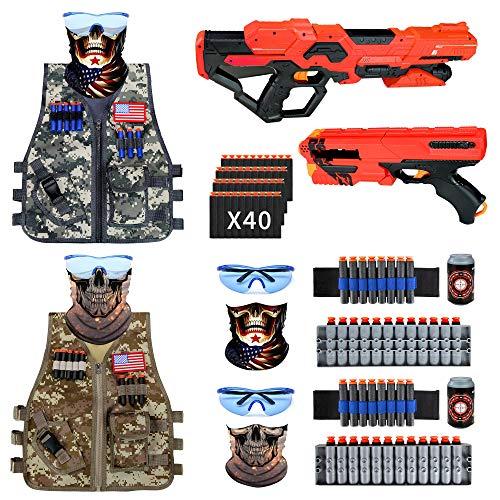 BABY FUN 2 Set Kids Adjustable Tactical Vest Kit, Nerf Guns...