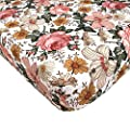 The Mini Scout Garden Floral (White) - Woven Cotton Fitted Crib Sheet for Baby Nursery Bedding Inspiration, Infant Bassinet Mattress Cover, Toddler Mattress Bed