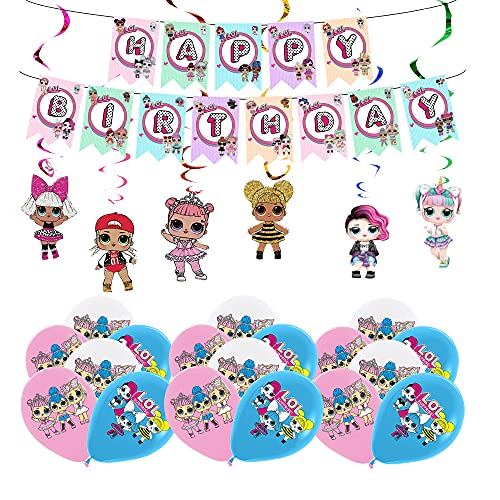 Deko Geburtstag Lol Überraschung Puppen Geburtstag Luftballons Lol Geburtstag Banner Lol Überraschung Hängen Wirbel Deko