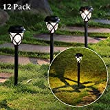 MAGGIFT 12 Pack Solar Powered Lights Outdoor Pathway Lights, Waterproof & No Wires Solar Garden Lights for Lawn, Patio, Landscape, Yard, Walkway, Deck, Driveway, Warm White