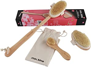 mockins Natural Boar Body Brush Set with Detachable Cellulite Brush, Long Wooden Handle for Dry Brushing and Face Brush | Perfect Kit to Exfoliate and Alleviate