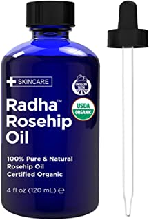 Radha Beauty Rosehip Oil USDA Certified Organic, 4 oz. - 100% Pure & Cold Pressed. All Natural Anti-Aging Moisturizing Tre...