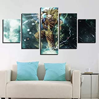 Jl 5 Piece Canvases Print Dragon Ball Z Goku Wall Art Picture Print on Canvas Giclee Artwork for Wall Decor