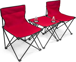 Sorbus Camp Chairs Table Set with Cup Holder Cooler, Foldable Frame, and Portable Carry Bag, Great for Camping, Sporting Events, Beach, Travel, Backyard, Patio, etc