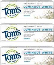 Tom's of Maine Luminous White Toothpaste, Whitening Toothpaste, Natural Toothpaste, Clean Mint, 4.0 Ounce, 3-Pack