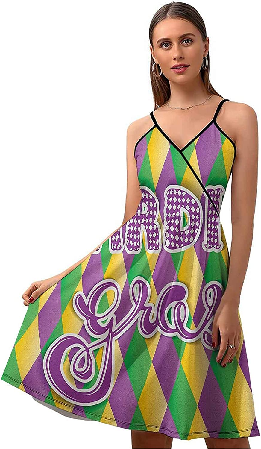 Mardi Boston Mall Directly managed store Gras Summer Dresses Casual Lettering Stylized