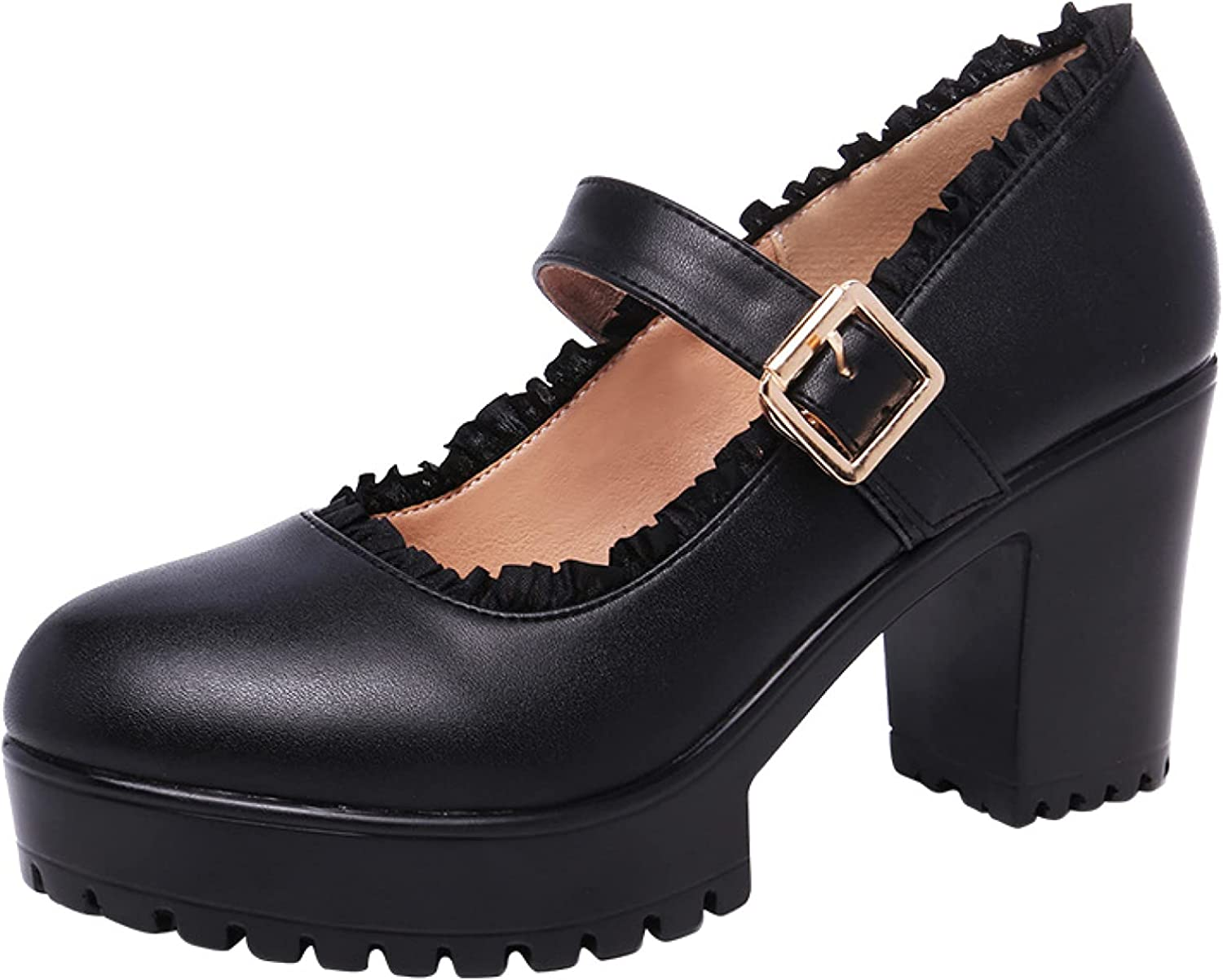 Women's Stylish Ankle Rapid rise Strap Mary Jane Block H High Financial sales sale Shoes Elegant