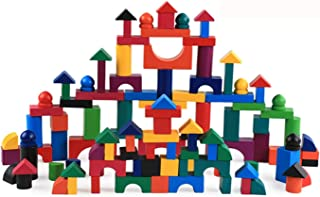 Building Blocks Set 112 Pcs Wooden Block Children Education Toy Multicolor Assemble Toy Gift for Kids with Wooden Box