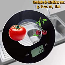 Balança de cozinha slim design redonda 5 kgs PRETO CBRN01552