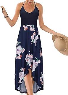 KILIG Women's V Neck Sleeveless Summer Asymmetrical Patchwork Floral Maxi Dresses