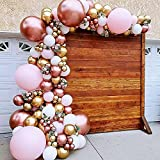 Thinbal Kit de arco de guirnalda de globo, 98 unidades, juego de arco de globos de oro rosa, oro metálico, globos de látex rosa blanco para niñas, cumpleaños, baby shower, boda, fiesta de novia
