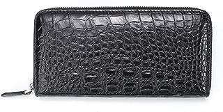 Leather Clutch Bag Real Crocodile Leather Men's Clutch Bag Crocodile Belly Handbag Clutch Bag (Color : Black, Size : M)