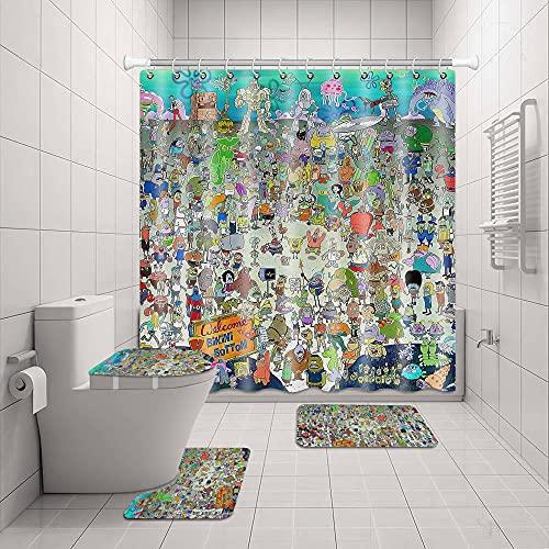 Spong-EB-ob 4-teiliges Duschvorhang-Set mit 12 Haken, WC-Deckelbezug, Badematte, Badezimmer-Dekoration, wasserdichte Duschvorhänge für Badezimmer-Zubehör, Teppich-Sets 182,9 cm B x H