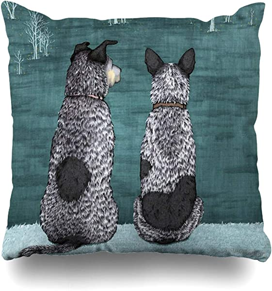 Ahawoso Throw Pillow Cover Square 18x18 Inches Australian Cattle Dogs Blue Heelers The Lookouts By Artwork By Ak Decorative Pillow Case Home Decor Pillowcase
