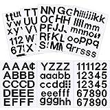 202 Pcs 8 Feuilles Ensemble Auto-Adhésif de Lettres et de Chiffres en Vinyle, Autocollant de Numéros pour Boîte aux Lettres, Fenêtre, Porte, Maison, Adresse (Noir, 1 Pouce)