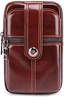 Classic Stylish Exotic Leather Crossbody Bag Male Genuine Leather Men Messenger Bag (Color : Coffee, Size : S)