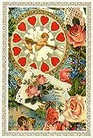 Rakka ヴィクトリアン エンジェル ポストカード同柄6枚セット ヴィンテージ キューピット カード オリジナルカード 天使 葉書 文房具 オフィス用品 封筒 はがき レター用品 ポストカード 絵柄付はがき Rakka RV07