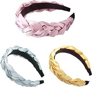 Huachi Braid Headbands for Women Knot Wedding Hair Bands Alice Turban Boho Twist Wide Hoops Headwear Gift Hair Accessories, 3 Colors
