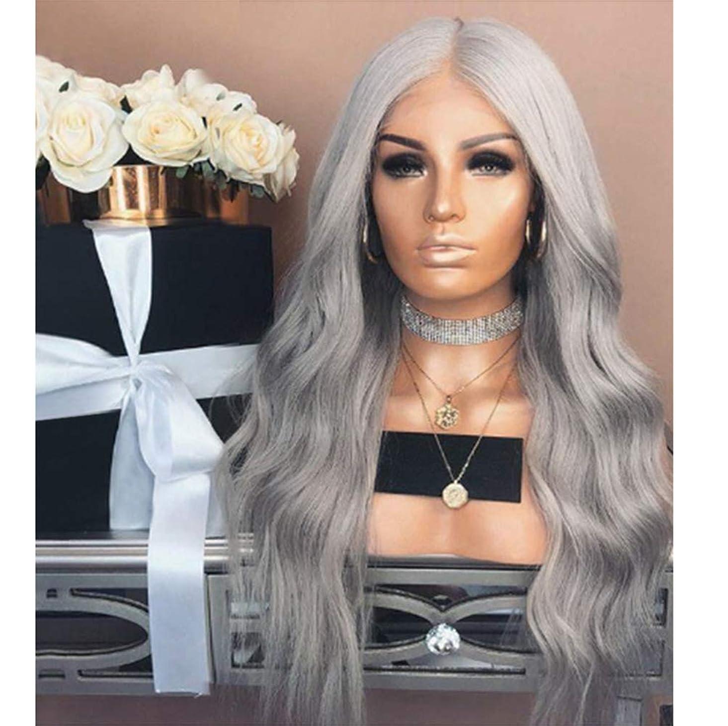 スキル完了再編成するWomen Wig Long Wavy Ombre Glueless Wigs Synthetic Hair Replacement Wig Gray 65CM
