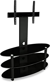 Mount-It! TV Stand with Mount and Storage Shelves, Entertainment Center 60 Inch Max Screen Size, 3 Tempered Glass Shelves, Aluminum Columns, VESA Compatible, Black MI-865