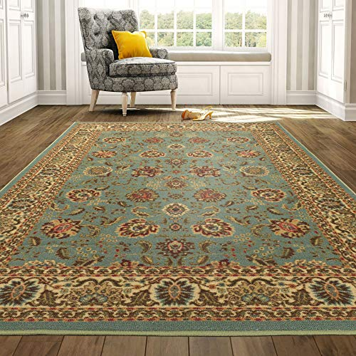 Ottomanson Ottohome Collection Persian Style Oriental Rugs with Non-Skid (Non-Slip) Rubber Backing Area Rug, 98' L x 118' W, Sage Green/Aqua Blue