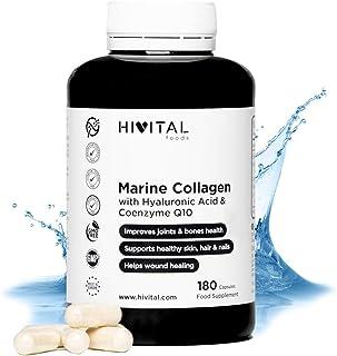 Colágeno Marino con Ácido Hialurónico. Coenzima Q10. Vitamina C y Zinc | 180 cápsulas (Suministro para 3 meses) | Péptidos que mantienen articulaciones. cartílagos. huesos. piel. cabello y uñas sanos