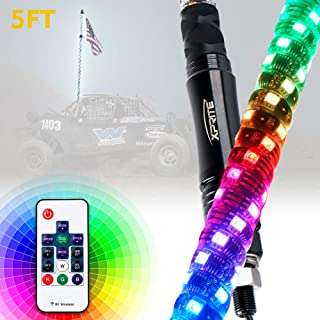 Xprite 5FT(1.5M) Spiral LED Whip Lights Dancing Chasing Light Flag Pole with Wireless Remote Control for UTV ATV Trophy Truck Polaris RZR XP 1000 Can am Maverick X3