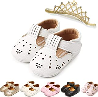 nobrand Infant Toddler Girls Mary Jane Flats Dress Shoes Soft Rubber Sole Baby Girls Walking Shoes Baby Moccasins, 1806whi...