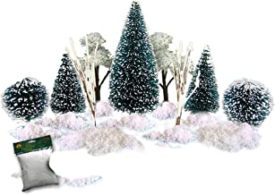 Christmas Village Accessories - Set of 9 Flocked, Frosted Christmas Trees and a Bag of Fake Snow - Winter Tree Decorations...