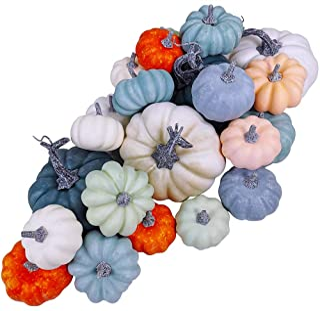 24 Pcs Bulk Assorted Rustic Harvest Artificial Blue Pumpkins Foam Pumpkin in White Orange Green Teal for Fall Autumn Hallo...