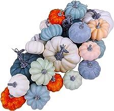 24 Pcs Bulk Assorted Rustic Harvest Artificial Pumpkins Foam Pumpkin in White Orange Green Teal for Fall Autumn Halloween ...