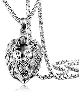 """Jewelry Kingdom 1 Mens Necklace Lion Pendant Necklace for Women and Men, Silver Plated Stainless Steel,Shiny Shiny CZ Diamond, Comes With Rope Chain 24""""and Gift Box(Silver)"""