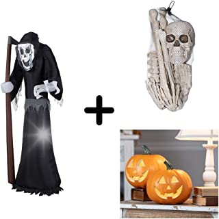 Sunstar 6 ft. Inflatable Giant Grim Reaper with Exclusive 12.pcs Bones and 2-Set of 9 inch Smiling Pumpkin by WeAreCheaper!