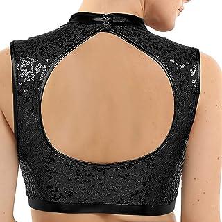 YiZYiF Women Girls Mock Neck Workout Sports Bras Summer Running Bra Yoga Crop Tops