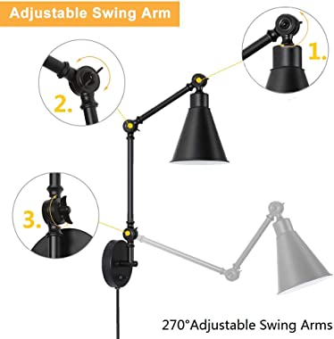HAITRAL Swing Arm Wall Sconces 2 Pack- Modern Wall Lamps, Dimmable Lamp with Mounted Light Fixtures for Home Decor Headboard