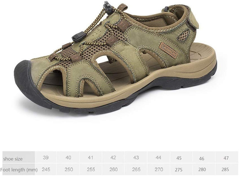 LZK Summer Men's Leather Sandals Baotou Beach Sandals Outdoor Soft Sandals Anti-collision predection toes null