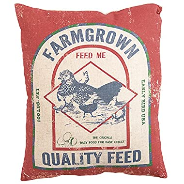 Primitives by Kathy Vintage Feed Sack Style Farm Grown Throw Pillow, 14 x 17-Inch