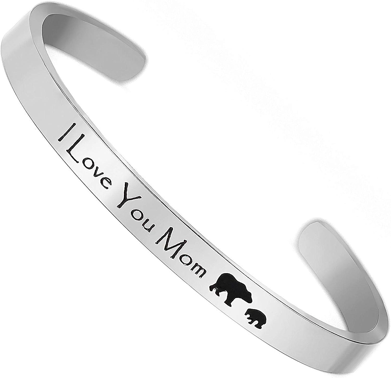 Gleamart Inspirational Cuff Bracelet Stainless Steel Engraved Bracelet Gift