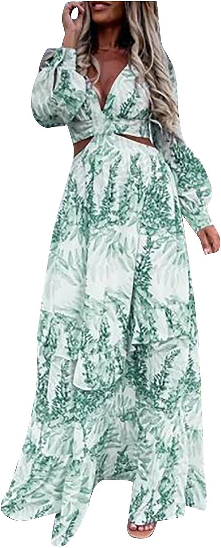 Womens Maxi Dress Plus Size Y2k Sexy Long Sleeve Deep V Neck Low Cut Waist Cutout Fluttering Floral Beach Sun Dresses