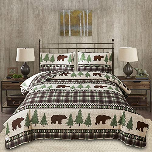 Rustic Bedding Quilt Set Queen/Full Size Lodge Cabin Quilt Brown Plaid Quilt Bedding Reversible Bedspread Bear Animal Quilt Country Bedding Home Bedspread Lightweight Print Plaid Bedspread Coverlet