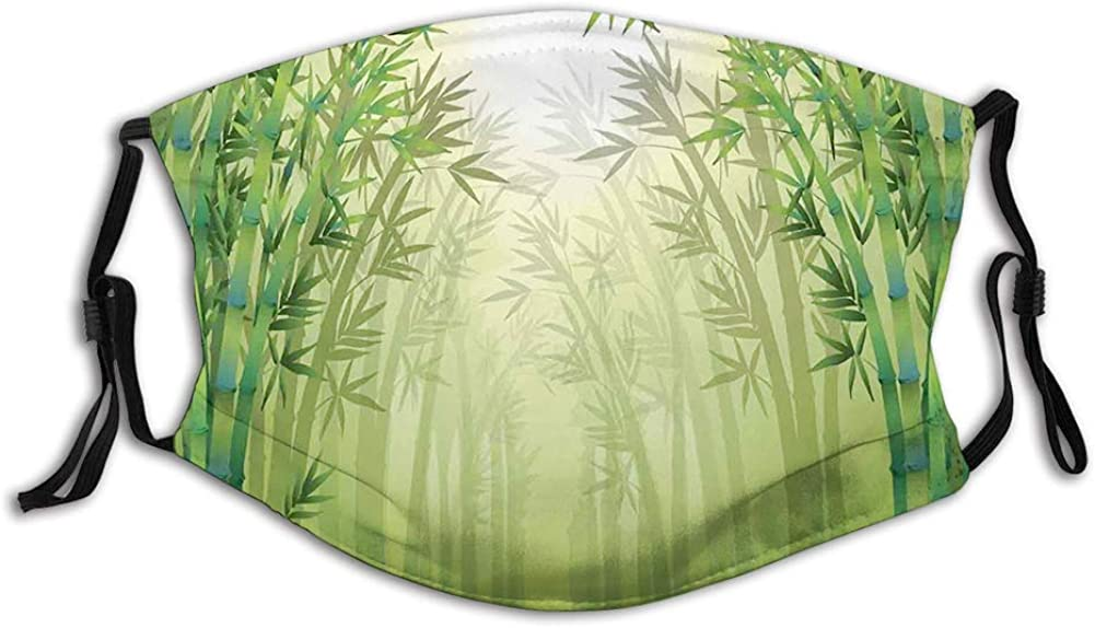 Image of Bamboo Trees in Rain Forest Far Eastern Wildlife Mouth Cover for Women,Face Mask Reusable Washable Cloth for Men