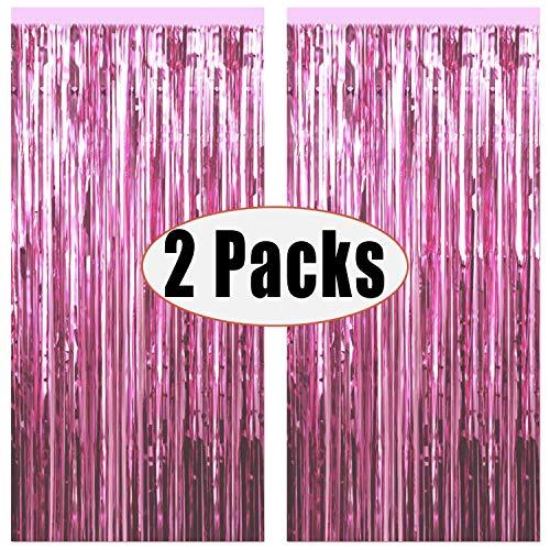 Sunshine smile Quaste Folie Vorhang Metallic,Folie Fransen Vorhänge Tür, Lametta Vorhang dekorative,Für die Partyhochzeit Dekoration (Pink)