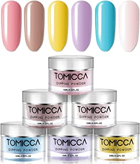 TOMICCA Dipping Powder Rainbow Color Set of 6 Nail Acrylic powder 0.5oz Bottle Dip Powder