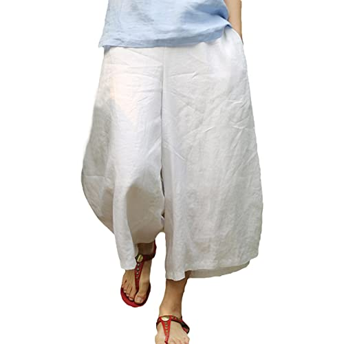 13b4ccc9231b3 Ecupper Women s High Waisted Linen Capri Pants Wide Leg Crop Culottes  Trousers