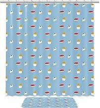 WANNABUY Rideau de douche imperméable (170,8 cm) avec 12 crochets et tapis de bain antidérapant (49,6 x 80,9 cm) - Lot de ...