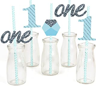 1st Birthday Boy - Fun to be One Paper Straw Decor - First Birthday Party Striped Decorative Straws - Set of 24
