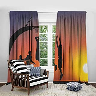 FOEYESEE Curtains for Bedroom Teen Room Boys Playing Basketball at Sunset Horizon Sky with Dramatic Scenery Dark Coral Black Yellow Kids Room Living Room Dorm W72 xL72