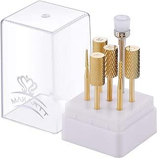 Makartt Acrylic Builder Gel Remover Nail Drill Bits Set Large Barrel Bulk 7PCS Professional Electric Nail File Carbide Bit Gold Nail Art Tools B-13