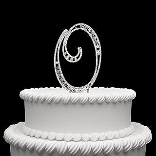 Hatcher lee Diamante Rhinestone Crystal Monogram Letter Alphabet Cake Toppers for Wedding Birthday Party Decoration 1pcs (O)